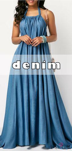 Open Back Solid Blue Maxi Dress      #liligal #dresses #denim