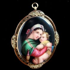 Antique Victorian Raphael Hand Painted Madonna & Child 14K Gold Brooch Pendant