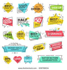 set of premium quality labels. modern vector illustration labels for shopping e-commerce product promotion social media stickers marketing. Web Design, Media Design, Label Design, Vector Design, Layout Design, Sale Banner, Web Banner, Banners, Sale Logo