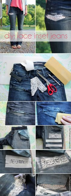 DIY : Lace Inset Jeans ~  Got a rip in your favorite jeans? Make it look cool by adding lace insets.