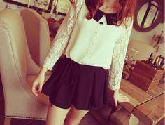 Long Sleeve SheerLaceShirt - White SheerLaceShirt With Black Collar