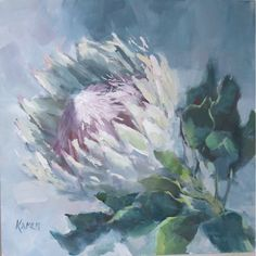 Protea Art, Protea Flower, Acrylic Painting Techniques, Acrylic Painting Canvas, Silk Painting, Watercolor Paintings, King Protea, Floral Drawing, South African Artists