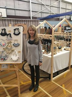 Market set up for Mary Ted Creative. Craft Show Booths, Craft Booth Displays, Craft Show Ideas, Stall Display, Bag Display, Diy Necklace Stand, Diy Necklace Display, Stand Feria, Baby Diy Projects