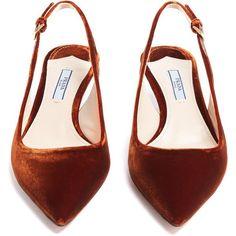 b2cec338f24 Prada Point-toe slingback kitten-heel velvet pumps (34.385 RUB) ❤ liked