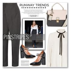 """PINSTRIPES"" by nanawidia ❤ liked on Polyvore featuring Monse, Paper London, New Look, Frame Denim, Rochas, NYFW and polyvoreeditorial"