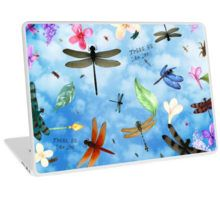 Laptop Skin with 'There Be Dragons' whimsical dragonfly art by Nola Lee Kelsey