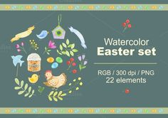 Check out Easter set. by Svetlana Bakaldina on Creative Market