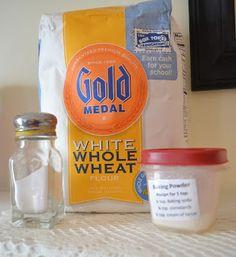 Self Rising Flour  Makes 1 cup    Ingredients:  1 cup regular flour  1 1/4 teaspoon baking powder  1 teaspoon salt.    Mix together. Makes 1 cup of self rising flour.