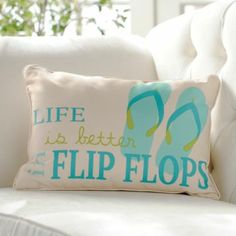Life is Better in Flip Flops Pillow   Kirkland's #Outdoor #Entertaining #Pillows