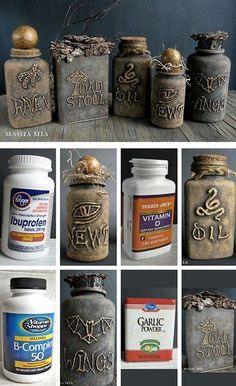halloweencrafts: DIY Halloween Apothecary Jars' Tutorial from Magia Mia. - halloweencrafts: DIY Halloween Apothecary Jars' Tutorial from Magia Mia. Turn plastic vitamin bottles into creepy apothecary jars using a glue gun and chalkboard paint. Halloween Hacks, Soirée Halloween, Hallowen Ideas, Halloween Projects, Holidays Halloween, Diy Projects, Halloween Tutorial, Halloween Tumblr, Steampunk Halloween