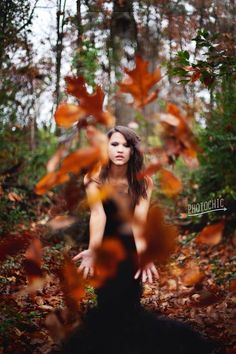 Fashion photography, editorial, fashion, black dress, fall, teen model, model, bold, leaves  www.amybakerphotos.com