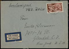 Germany 1950 Saar Europa 200Fr Mi 298 Airmail Cover to the USA 56240 they wanted 728.00 pounds for this