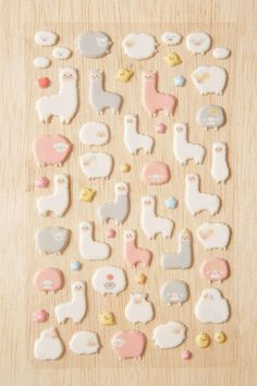 Alpaca + Sheep Puffy Stickers Set - Urban Outfitters I would love to have these Stationary School, Cute Stationary, Kawaii Stickers, Cute Stickers, Clay Crafts, Fun Crafts, Cute School Supplies, Pretty Pastel, Color Of The Year
