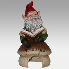 """""""Gnomo de jardín leyendo un libro en la casa del sapo"""". De Alpine Corporation. Uno más para hacerle compañía al otro gnomito... lo que me gustó fué el nombrecito!"""
