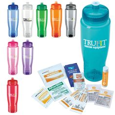 """This Sport Kit will """"quench your thirst"""" for a great promotional item! Packaged in the popular Poly-Clean (TM) 28 oz. sports bottle the product contains 1 muscle gel packet, 1 insect sting relief packet and 1 antibiotic ointment packet. The kit also features 2 bandages, 1 antiseptic towelette, 2 SPF-30 packets and 1 SPF-15 lip balm. The bottle is made of PET plastic and available in a variety of color options! Product size: 3 1/8"""" w x 9 1/2"""" h"""