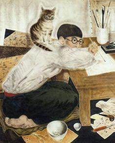 """Léonard Tsugouharu Foujita (aka 藤田 嗣治, Fujita Tsuguharu) 1950s """"Self Portrait"""""""