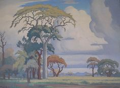 Pierneef was an Afrikans-speaking South African, and he is often said to be the leading Afrikans painter. Landscape Art, Landscape Paintings, Tree Paintings, Vegas, African Image, African Paintings, South African Artists, Encaustic Art, Big Canvas