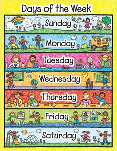 x poster of the days of the week. This poster has colorful kid drawn images of kids at play and learning. Makes a great tool for the classroom in Kindergarten and First Grade to help kids learn the days of the week at calendar time. Learning Sight Words, Learning Shapes, Kids Learning, Classroom Calendar, School Calendar, Days Of Week, Months In A Year, Year 7, Creative Teaching Press