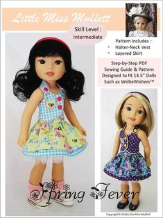 Pixie Faire Little Miss Muffett Spring Fever Doll Clothes Pattern Designed to Fit Dolls such as WellieWishers™ - PDF Doll Clothes Patterns, Pdf Sewing Patterns, Doll Patterns, Clothing Patterns, Diy Halter Top, Pixie, Wellie Wishers Dolls, Thing 1, Little Miss