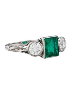 Black Starr & Frost 1.62ctw Emerald and Diamond Ring