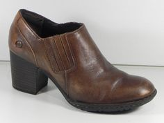 63d0871378a BORN Brecking W62405 Brown Leather Ankle Boots Heels Shoes Size 7   38 EUC   Brn  FashionAnkle