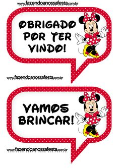 Plaquinhas Divertidas da Minnie Vermelha: