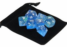 New Chessex Polyhedral Dice with Bag Sky Blue Borealis 7 Piece Set DnD RPG #Chessex