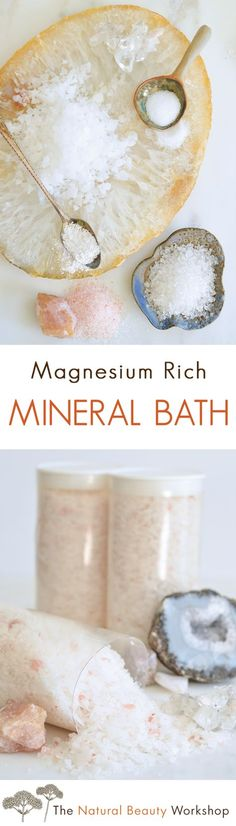 A simple bath soak recipe packed with mineral rich salts, coral calcium, and natural magnesium flakes.