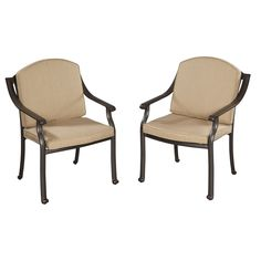 Covington Cushioned Arm Chairs (Set of 2) by Home Styles (Covington Cushioned Arm Chair Pair), Beige, Patio Furniture (Aluminum)