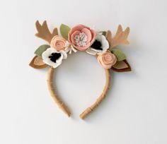 Woodland deer antlers | wool felt flower crown | baby girl floral headband