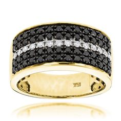 5 Row White Black Diamond Wedding Band for Men by Luxurman 2.25ct 10K Gold