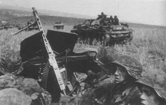 Panzergrenadiers of the 2nd SS Panzer Division 'Das Reich' advance during the Battle of Kursk, 1943.