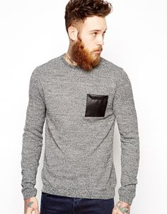 ASOS Jumper With Patch at ASOS. Shop this season's must haves with multiple delivery and return options (Ts&Cs apply). Jumper, Men Sweater, Asos Men, Pull, Must Haves, Patches, Mens Fashion, Sweaters, Leather