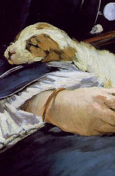 The Railway, widely known as Gare Saint-Lazare, is an 1873 painting by Édouard Manet. Manet is my favorite portrait artist! This is perfect. Edouard Manet, Paintings I Love, Animal Paintings, Renoir, Munier, Dog Portraits, Dog Art, Painting & Drawing, Amazing Art