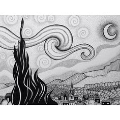 """#dotwork #drawing #remake #vangogh"" van gogh Starry night"