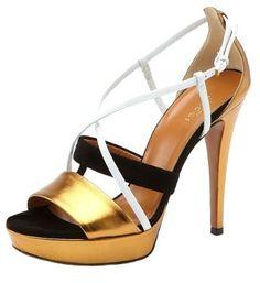 metallic shoes / Gucci Betty Metallic Gold, Black and White High Heel Platform Sandal  Multi  39.5, |Black Heels|