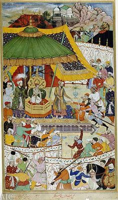 "Emperor Akbar in court. The ""classic period"" of the empire started in 1556 with the ascension of Akbar the Great to the throne. Under the rule of Akbar and his son Jahangir, India enjoyed economic progress as well as religious harmony, and the monarchs were interested in local religious and cultural traditions. Akbar was a successful warrior; His reign also brought Persian cultural influence to its zenith in India, and the resulting Indo-Persian synthesis, in fact, outlived the Mughals."
