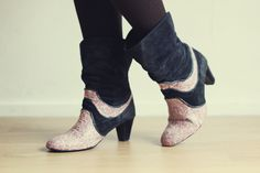 Lana Red shows a fun way to restyle a pair of thrift store boots -- with Mod Podge!