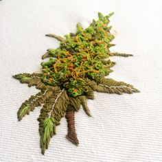 Embroidery weed bud. Crewel freestyle by Nicole Magne