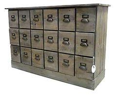 Commode bois de pin et métal, marron - L120