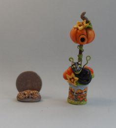 OOAK pumpkin birdhouse tuxedo cat and pumpkin miniature Cottage Kitty