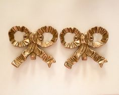Vintage Brass Bow Wall Hooks  Picture Hangers by FullCircleRetro, $22.00