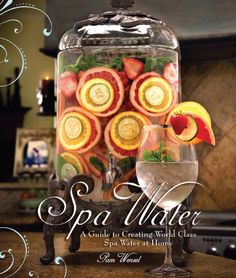 Spa Water Recipes (This one looks like cucumber, strawberry, lemon, mint, and grapefruit)