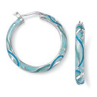 Enameled Silverplate and CZ Tropical Waters Hoops | Nature's Jewelry