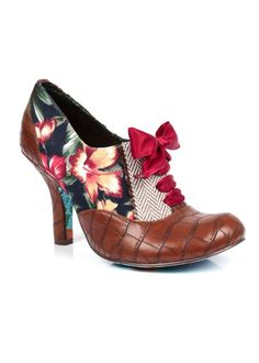 Irregular Choice Quillglimmer Shoes Brown Floral