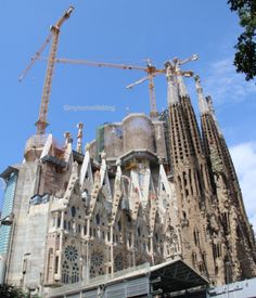 Older and newer parts of the Sagrada Familia - see the difference in colour - Barcelona