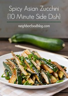 This Spicy Asian Zucchini is a quick and easy summer side dish. -Use coconut aminos instead of soy sauce