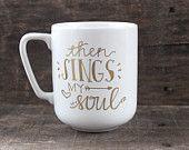 Christian Coffee Mug - Then Sings My Soul - Hand Painted Coffee Mug - Christian Gift - Gold Mug