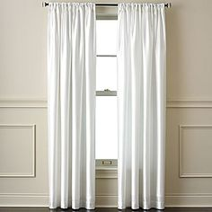 drapery panels in cool white. faux silk, 41 each