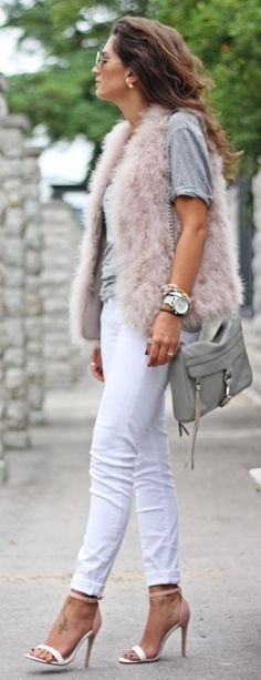 Light Pink Faux Fur Vest! Don't see too many in this color.